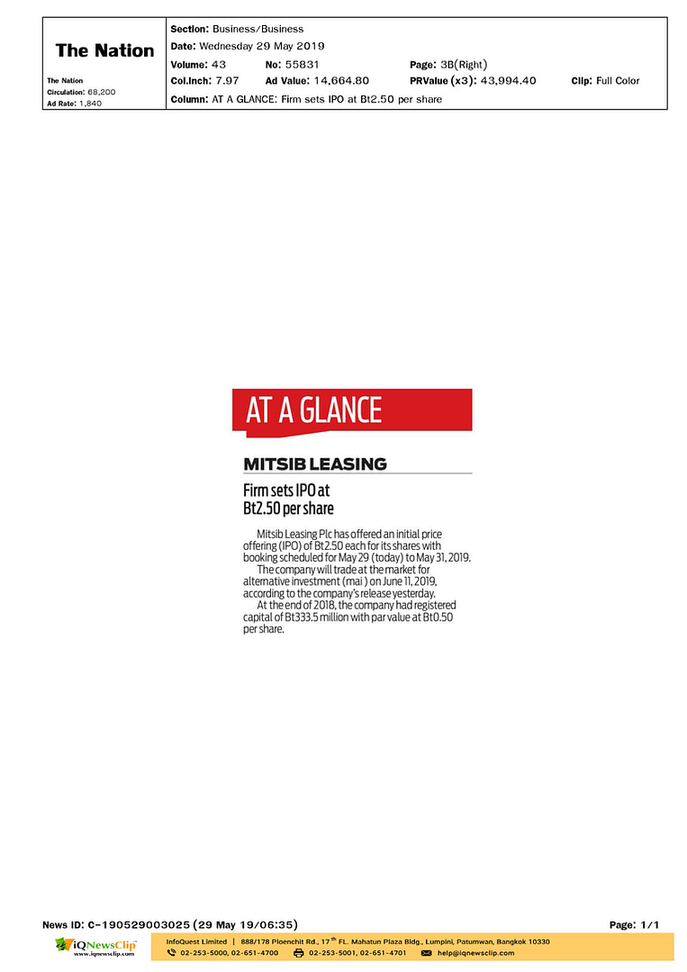 The Nation AT A GLANCE MITSIB LEASING Firm sets IPO at Bt2.50 per share